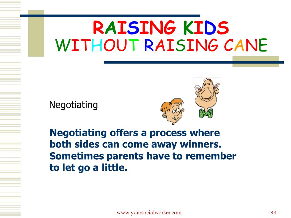 www.yoursocialworker.com38 RAISING KIDS WITHOUT RAISING CANE Negotiating Negotiating offers a process where both sides can come away winners.
