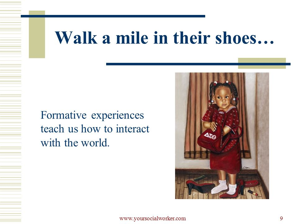 www.yoursocialworker.com9 Walk a mile in their shoes… Formative experiences teach us how to interact with the world.