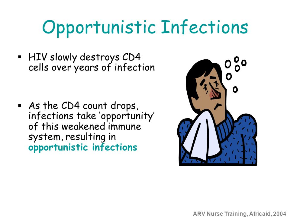 ARV Nurse Training, Africaid, 2004 Opportunistic Infections  HIV slowly destroys CD4 cells over years of infection  As the CD4 count drops, infectio
