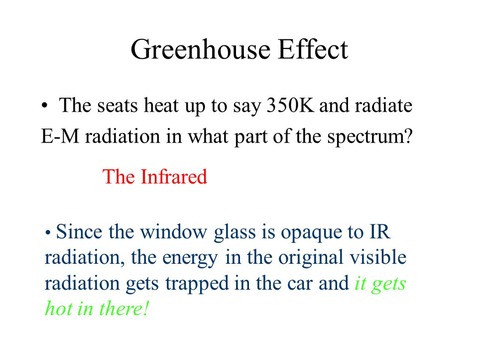 Interesting Aside: The Greenhouse Effect Car windows are designed to pass visible light for safety, but most glasses do not pass IR radiation.
