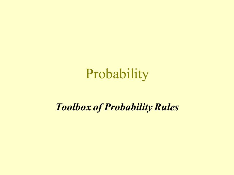 Probability Toolbox of Probability Rules