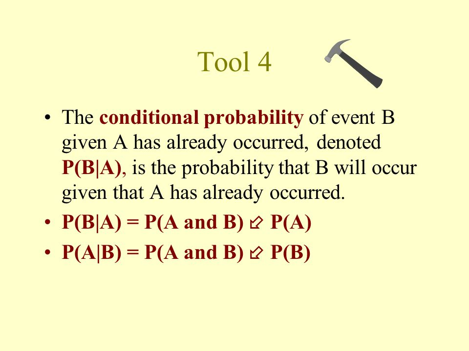 Tool 4 The conditional probability of event B given A has already occurred, denoted P(B|A), is the probability that B will occur given that A has already occurred.