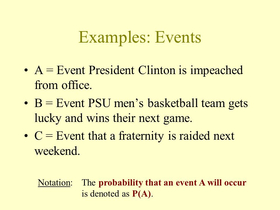 Examples: Events A = Event President Clinton is impeached from office.