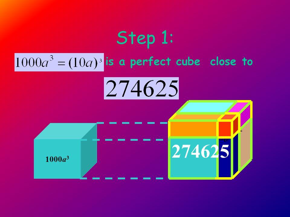 Step 1: is a perfect cube close to 1000a 3 10a*10a*b= 100a 2 b 10a*10a*b = 100a 2 b (10a) 3 = 1000a 3 10a*b*b = 10ab 2 b* 10a * 10a= 100a 2 b b* b *10a = 10ab 2 b* 10a * b= 10ab 2 b* b*b =b 3 274625