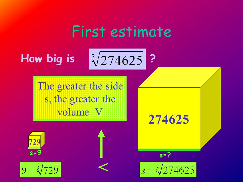 First estimate 274625 How big is 729 < The greater the side s, the greater the volume V s=9 s=