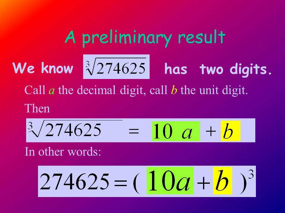 A preliminary result Call a the decimal digit, call b the unit digit.