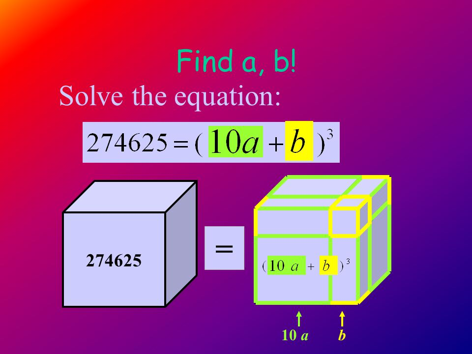 Find a, b! 274625 10 a b Solve the equation: =