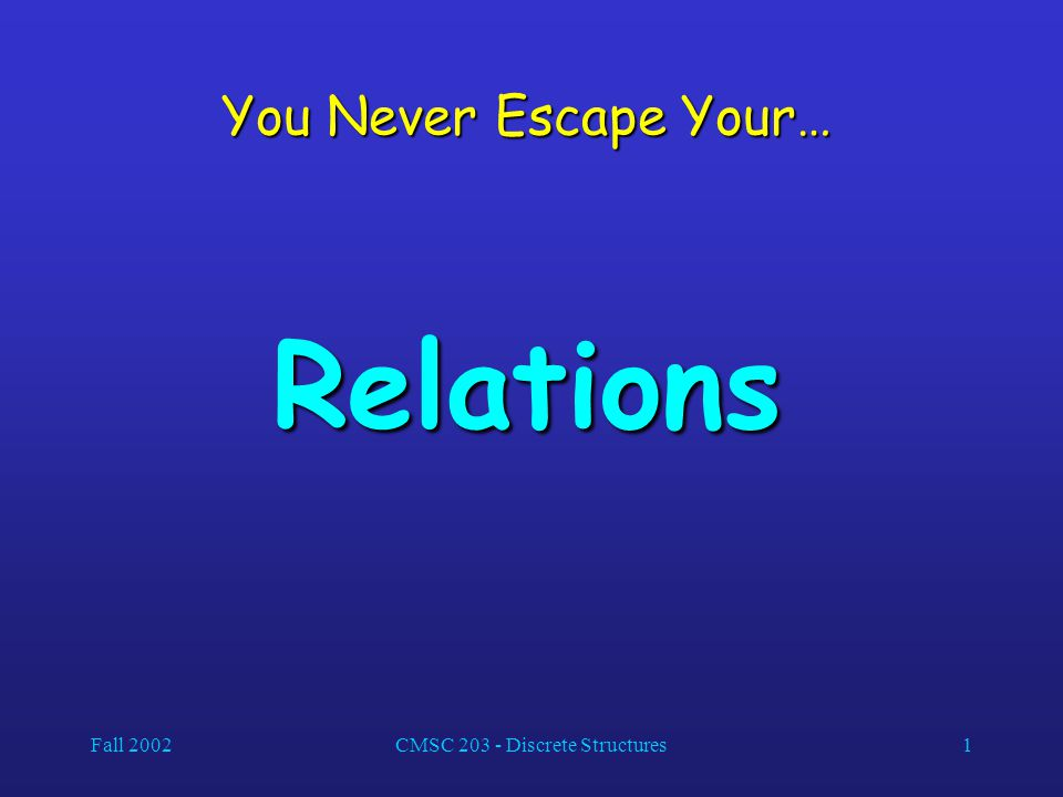 Fall 2002CMSC 203 - Discrete Structures1 You Never Escape Your… Relations