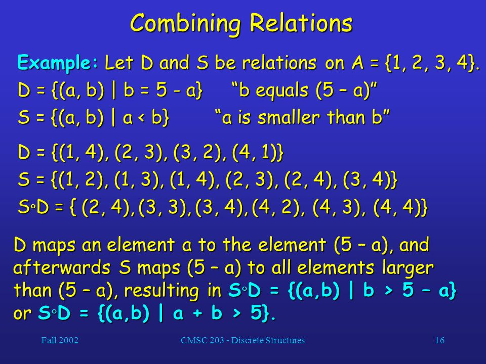Fall 2002CMSC 203 - Discrete Structures16 Combining Relations Example: Let D and S be relations on A = {1, 2, 3, 4}.
