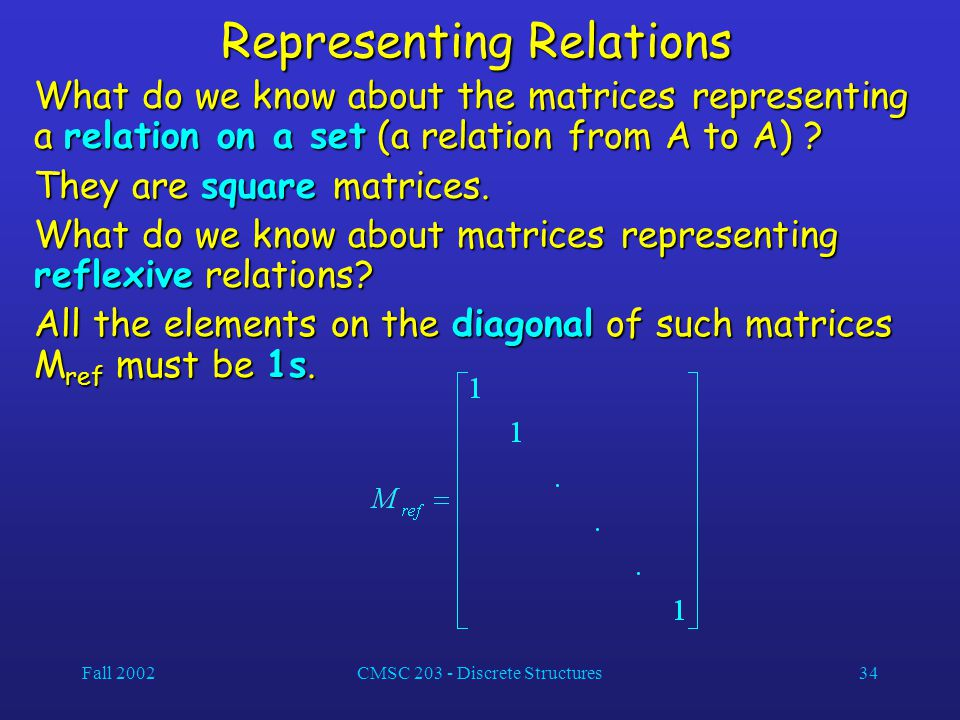 Fall 2002CMSC 203 - Discrete Structures34 Representing Relations What do we know about the matrices representing a relation on a set (a relation from A to A) .