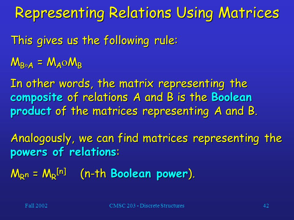 Fall 2002CMSC 203 - Discrete Structures42 Representing Relations Using Matrices This gives us the following rule: M B  A = M A  M B In other words, the matrix representing the composite of relations A and B is the Boolean product of the matrices representing A and B.