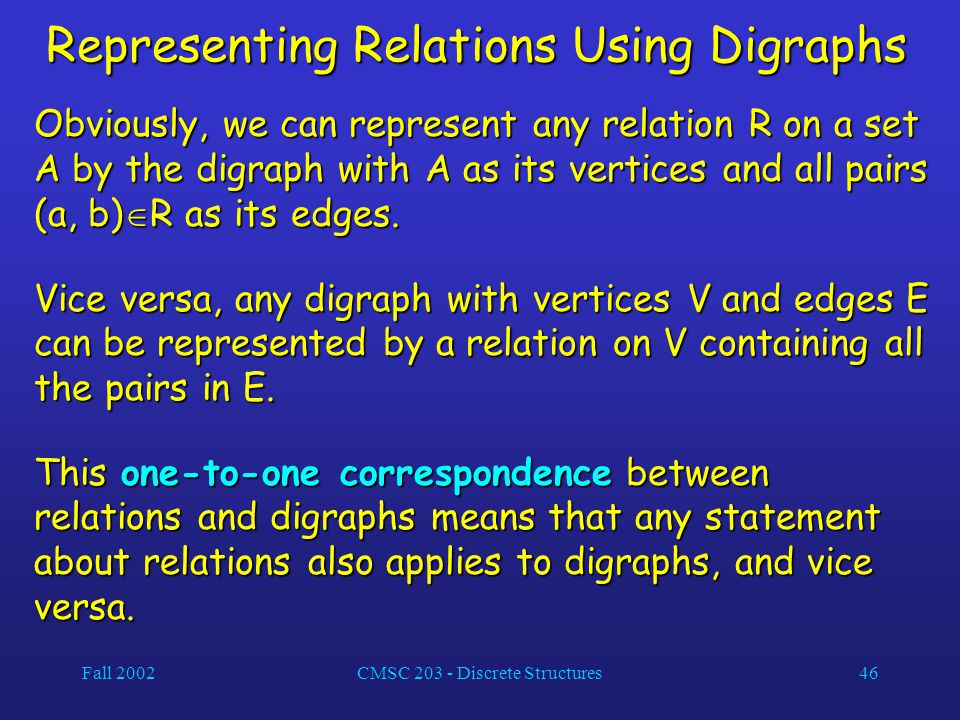 Fall 2002CMSC 203 - Discrete Structures46 Representing Relations Using Digraphs Obviously, we can represent any relation R on a set A by the digraph with A as its vertices and all pairs (a, b)  R as its edges.