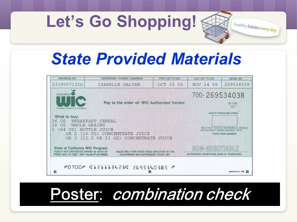 Let's Go Shopping! Materials Needed