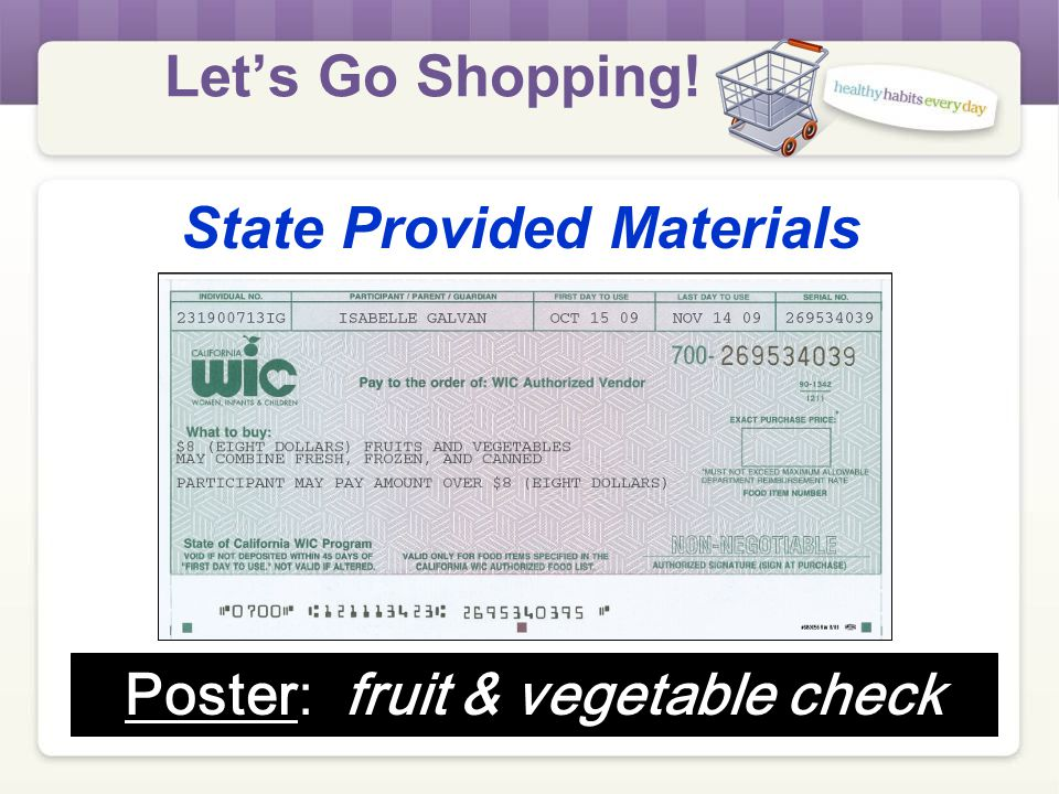 Let's Go Shopping! State Provided Materials Poster: combination check