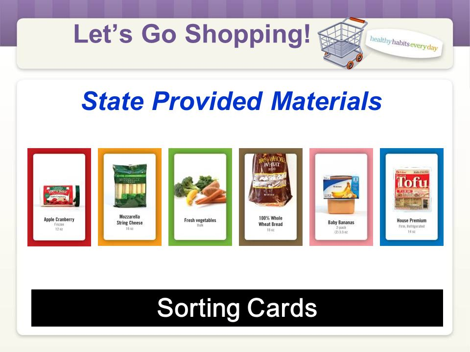 Let's Go Shopping! State Provided Materials Poster: What to do…
