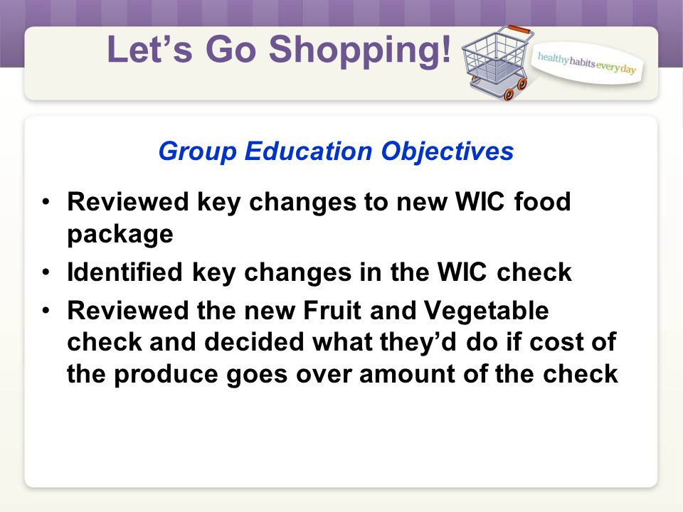Let's Go Shopping! WHO is this class for Current WIC participants, not new enrollments