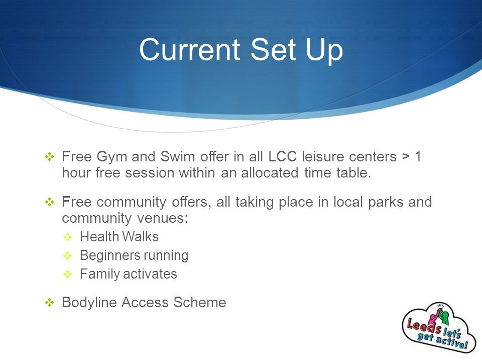 Current Set Up  Free Gym and Swim offer in all LCC leisure centers > 1 hour free session within an allocated time table.