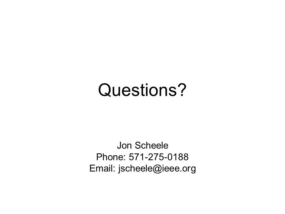 Questions Jon Scheele Phone: