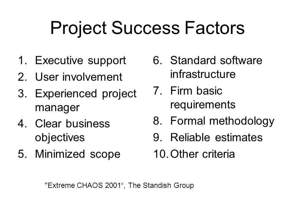 Project Success Factors 1.Executive support 2.User involvement 3.Experienced project manager 4.Clear business objectives 5.Minimized scope 6.Standard software infrastructure 7.Firm basic requirements 8.Formal methodology 9.Reliable estimates 10.Other criteria Extreme CHAOS 2001 , The Standish Group