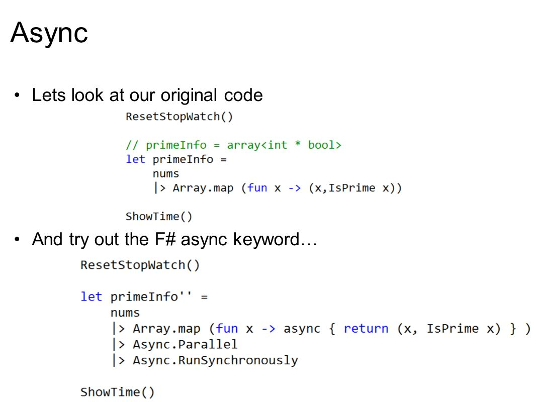 Async http://lorgonblog.spaces.live.com/blog/cns!701679AD17B6D310!193.entry Same performance increase as the ugly version.