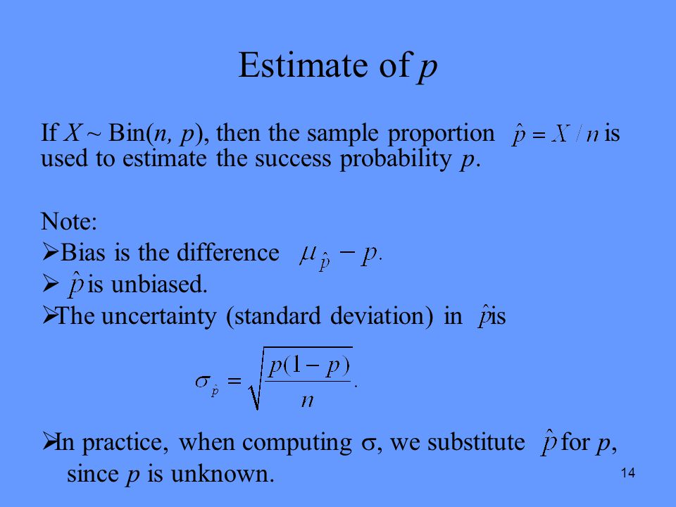 14 Estimate of p If X ~ Bin(n, p), then the sample proportion is used to estimate the success probability p. Note:  Bias is the difference  is unbia