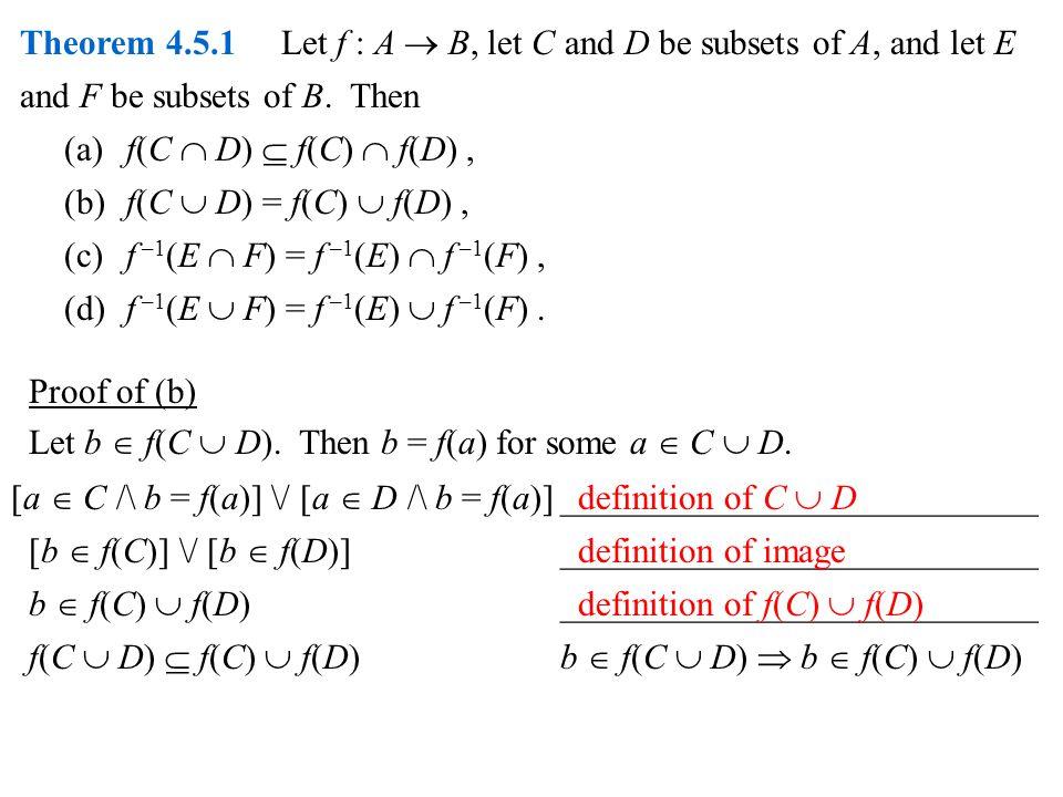 Theorem 4.5.1 Let f : A  B, let C and D be subsets of A, and let E and F be subsets of B.