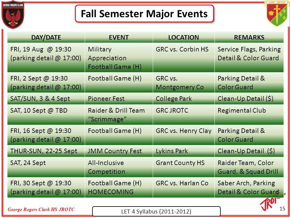 LET 4 Syllabus (2011-2012) George Rogers Clark HS JROTC Fall Semester Major Events 15 DAY/DATEEVENTLOCATIONREMARKS FRI, 19 Aug @ 19:30 (parking detail @ 17:00) Military Appreciation Football Game (H) GRC vs.