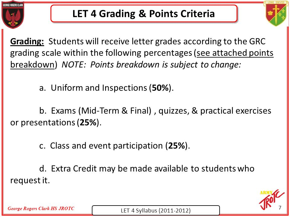 LET 4 Syllabus (2011-2012) George Rogers Clark HS JROTC Grading: Students will receive letter grades according to the GRC grading scale within the following percentages (see attached points breakdown) NOTE: Points breakdown is subject to change: a.