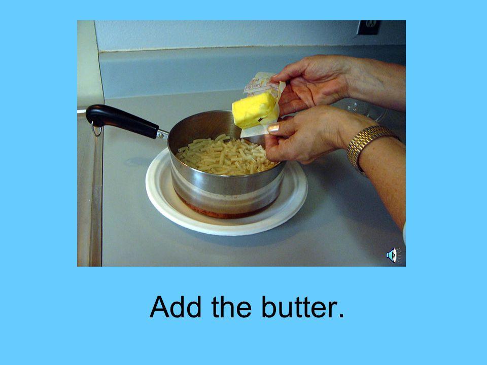 Then, pour milk on the macaroni.