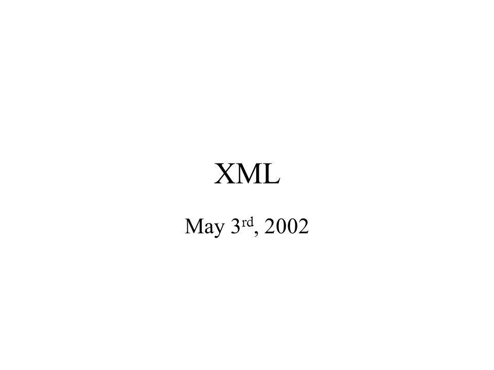 XML May 3 rd, 2002