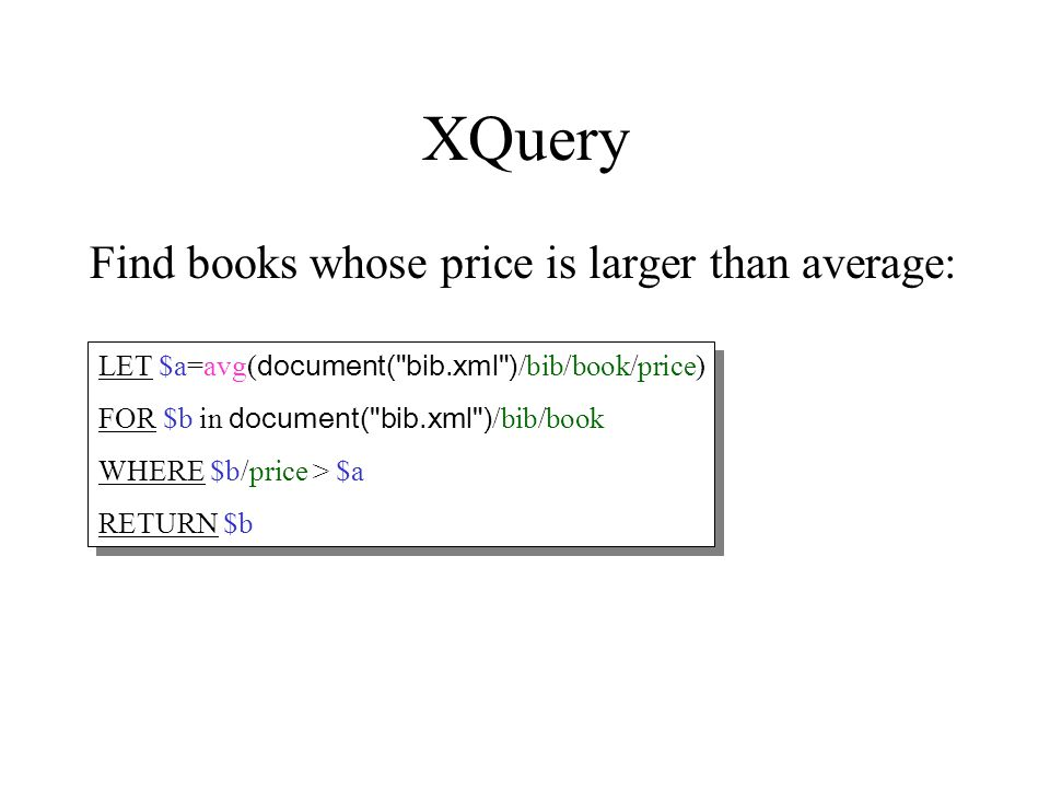 XQuery Find books whose price is larger than average: LET $a=avg( document(