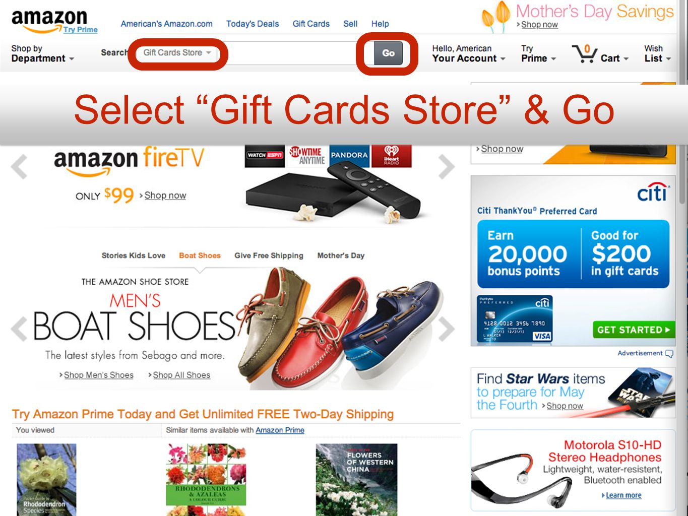 Select Gift Cards Store & Go