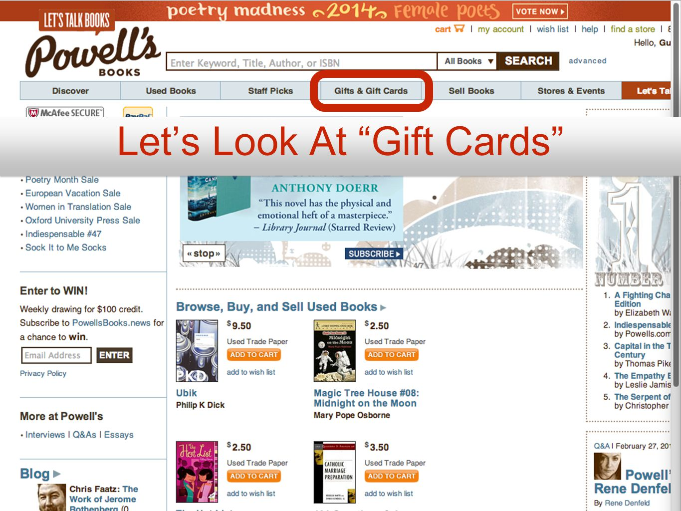 Let's Look At Gift Cards
