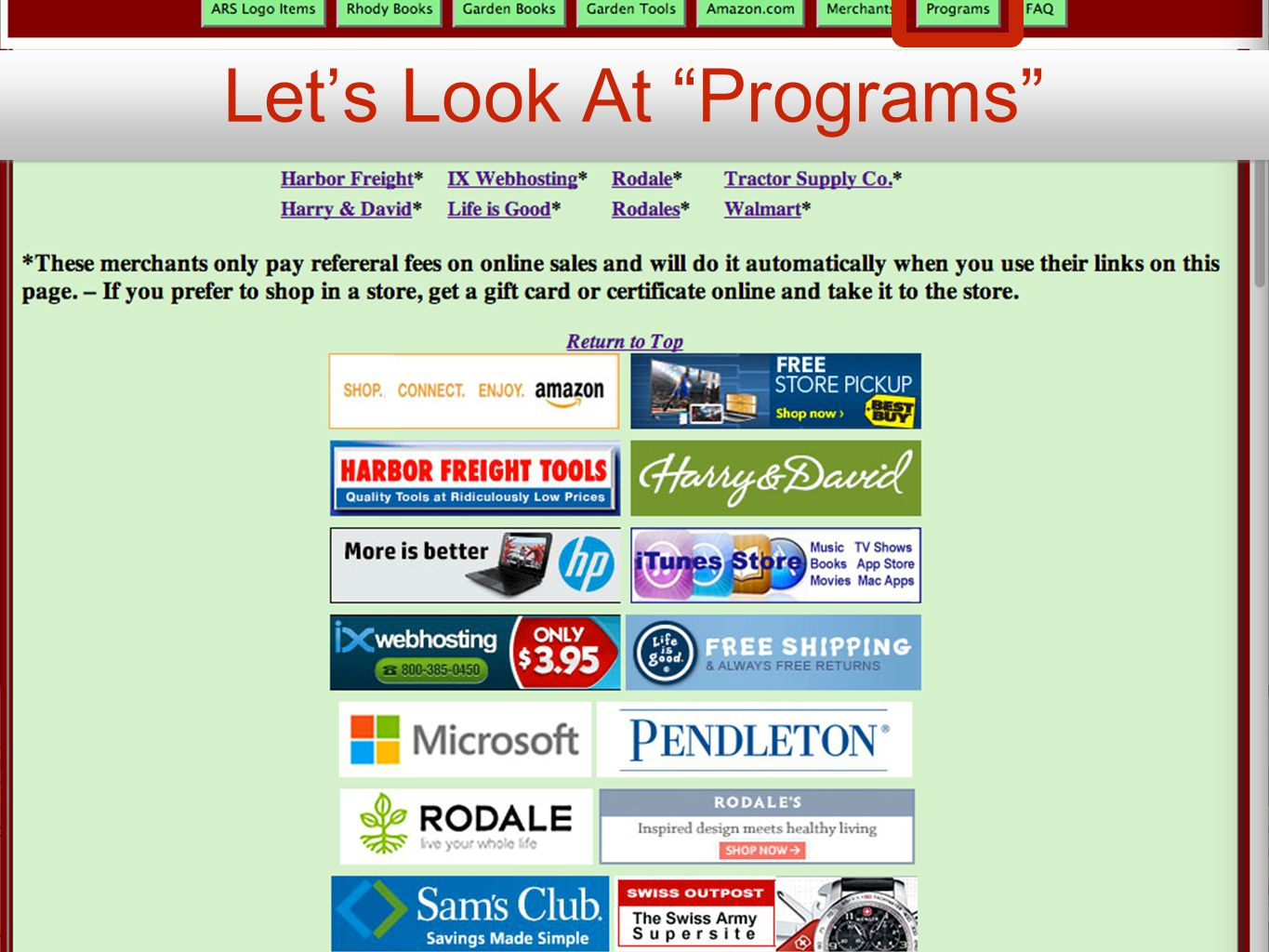 Let's Look At Programs