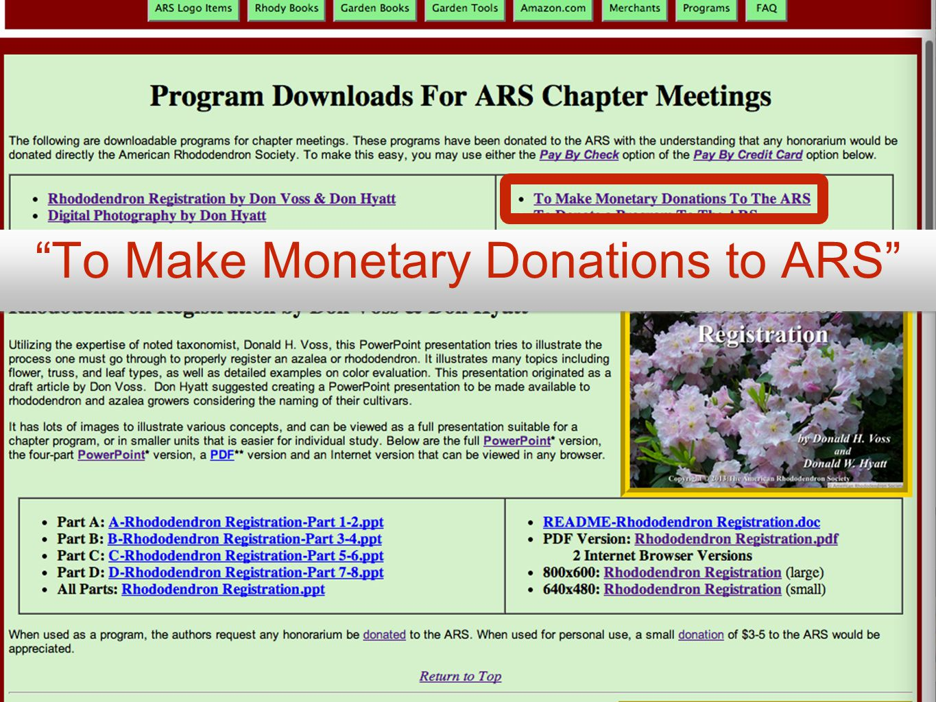 To Make Monetary Donations to ARS