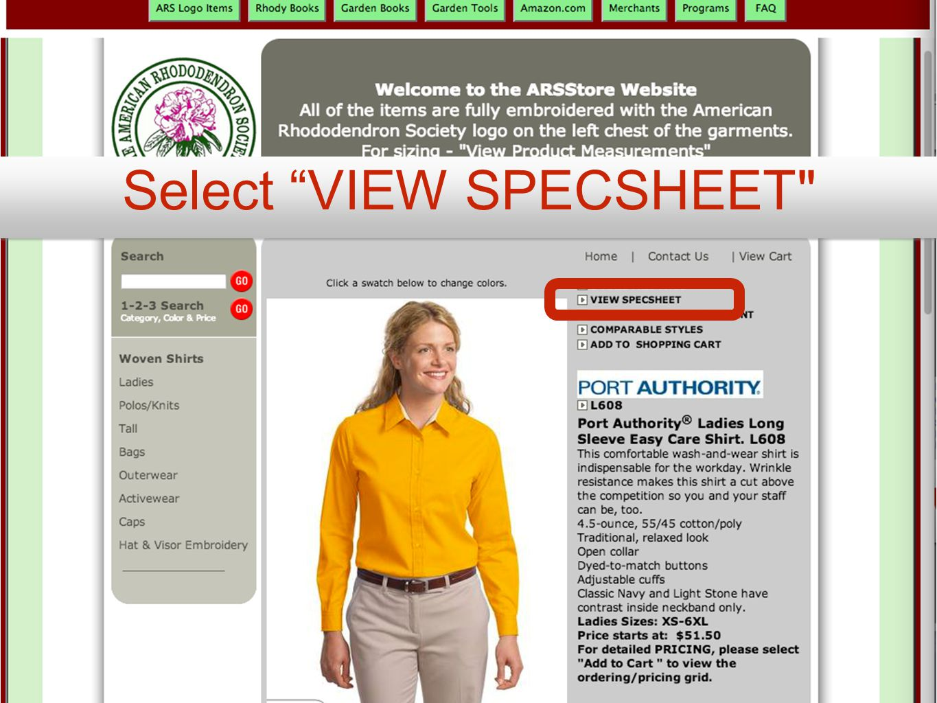 Select VIEW SPECSHEET