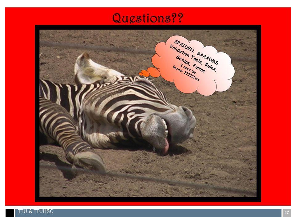 17 TTU & TTUHSC Questions