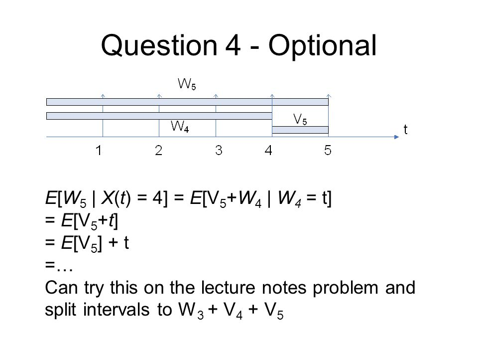 Question 4 - Optional E[W 5 | X(t) = 4] = E[V 5 +W 4 | W 4 = t] = E[V 5 +t] = E[V 5 ] + t =… Can try this on the lecture notes problem and split intervals to W 3 + V 4 + V 5