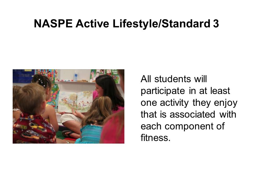 NASPE Active Lifestyle/Standard 3 All students will participate in at least one activity they enjoy that is associated with each component of fitness.