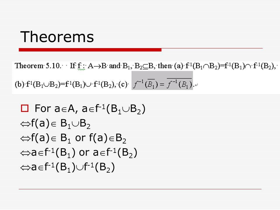Theorems  For aA, af -1 (B 1 B 2 ) f(a) B 1 B 2 f(a) B 1 or f(a)B 2 af -1 (B 1 ) or af -1 (B 2 ) af -1 (B 1 )f -1 (B 2 )