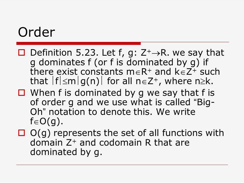 Order  Definition 5.23.Let f, g: Z + R.