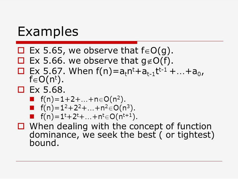 Examples  Ex 5.65, we observe that fO(g).  Ex 5.66. we observe that gO(f).  Ex 5.67. When f(n)=a t n t +a t-1 t t-1 + … +a 0, fO(n t ).  Ex 5.6