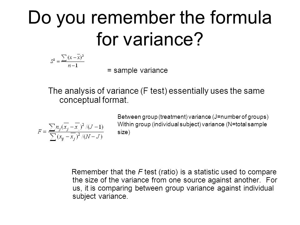 Do you remember the formula for variance.