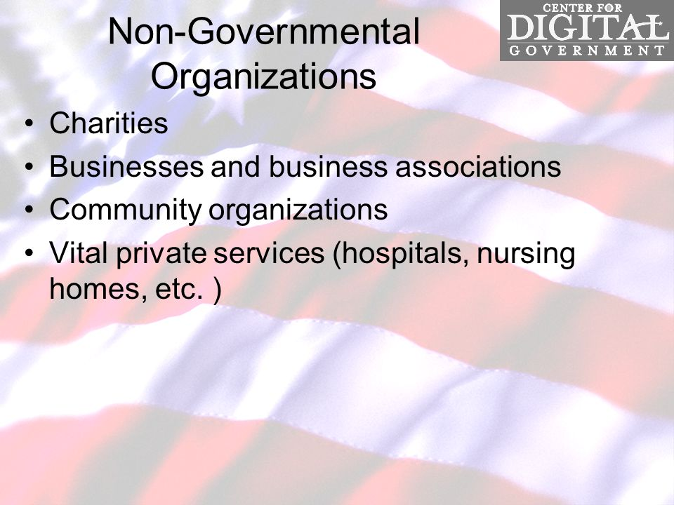 Non-Governmental Organizations Charities Businesses and business associations Community organizations Vital private services (hospitals, nursing homes, etc.