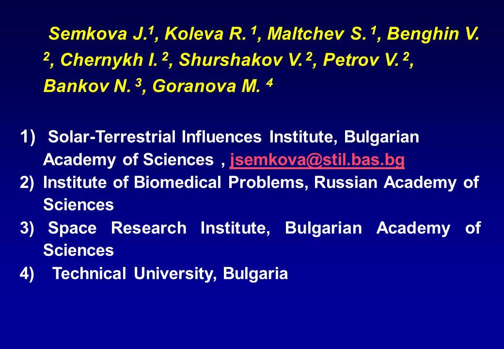 Semkova J. 1, Koleva R. 1, Maltchev S. 1, Benghin V.