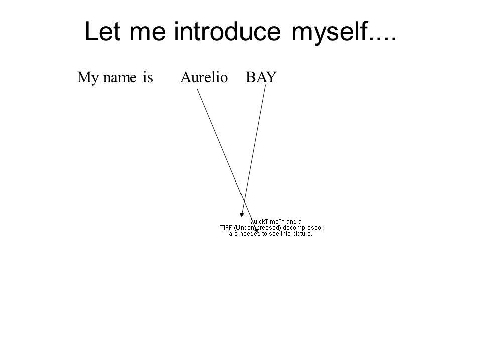 Let me introduce myself.... My name is Aurelio BAY