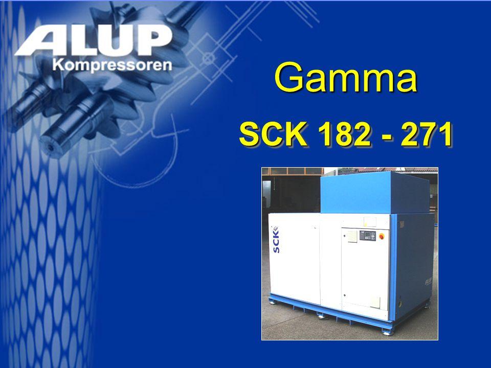 SCK 182 - 271 Efficienza economica Alta efficienza nel gruppo vite prodotto secondo lo stato dell'arte Motore elettrico on fattore di protezione IP 23 / IP 55 Microprocessore di controllo AIR CONTROL 3