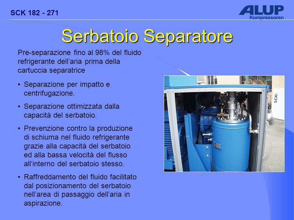 SCK 182 - 271 Serbatoio Separatore Pre-separazione fino al 98% del fluido refrigerante dell'aria prima della cartuccia separatrice Separazione per imp