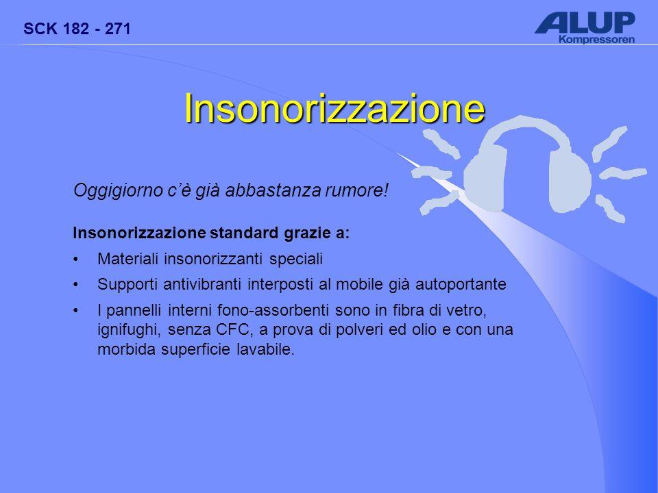 SCK 182 - 271 Insonorizzazione Oggigiorno c'è già abbastanza rumore! Insonorizzazione standard grazie a: Materiali insonorizzanti speciali Supporti an