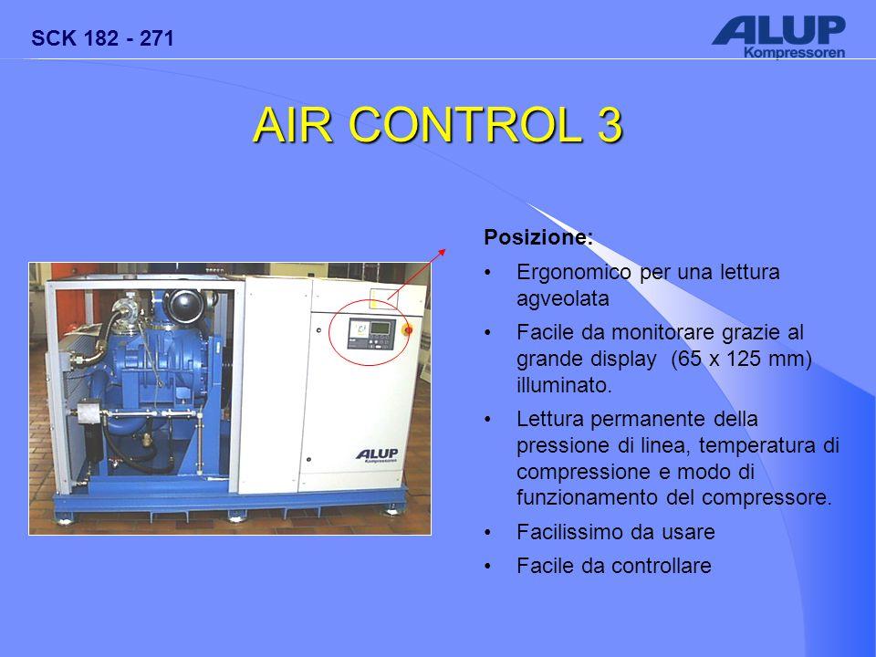 SCK 182 - 271 AIR CONTROL 3 Posizione: Ergonomico per una lettura agveolata Facile da monitorare grazie al grande display (65 x 125 mm) illuminato. Le